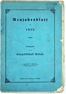 Neujahrsblatt Lesegesellschaft Bülach 1855