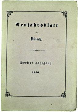 Neujahrsblatt Lesegesellschaft Bülach 1856