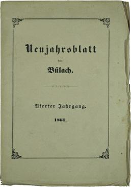 Neujahrsblatt Lesegesellschaft Bülach 1861