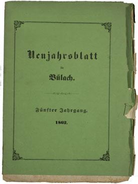 Neujahrsblatt Lesegesellschaft Bülach 1862