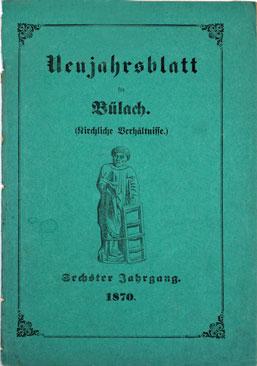Neujahrsblatt Lesegesellschaft Bülach 1870