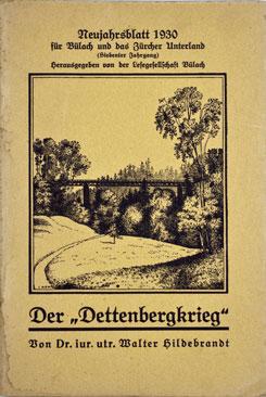 Neujahrsblatt Lesegesellschaft Bülach 1930