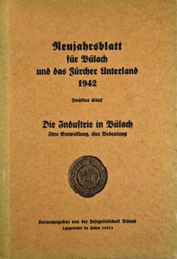 Neujahrsblatt Lesegesellschaft Bülach 1942