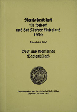 Neujahrsblatt Lesegesellschaft Bülach 1950