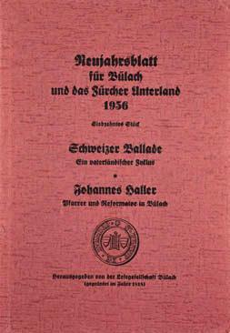 Neujahrsblatt Lesegesellschaft Bülach 1956