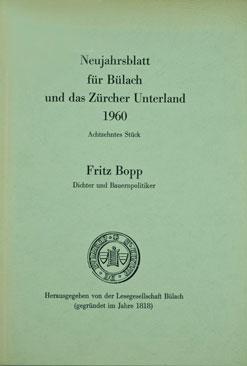Neujahrsblatt Lesegesellschaft Bülach 1960